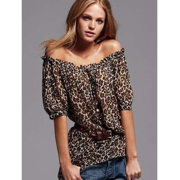 41009e8a935e Victoria's Secret Tops | Victoria Secret Off Shoulder Animal Print ...